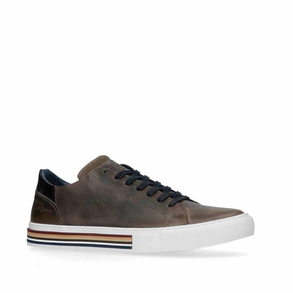 Manfield   leren sneakers grijs, Grijs