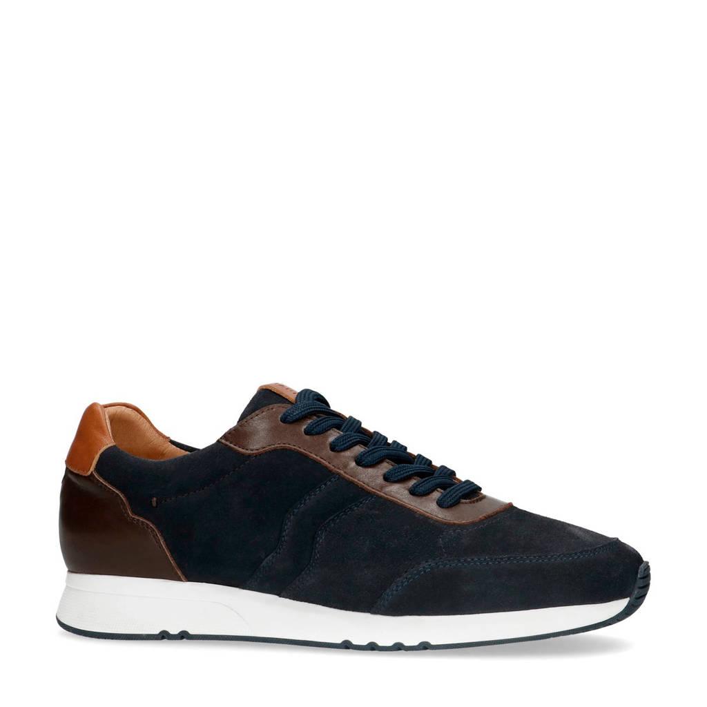 Manfield   suède sneakers blauw, Blauw/bruin