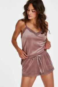 Hunkemöller velours pyjamashort roze, Roze