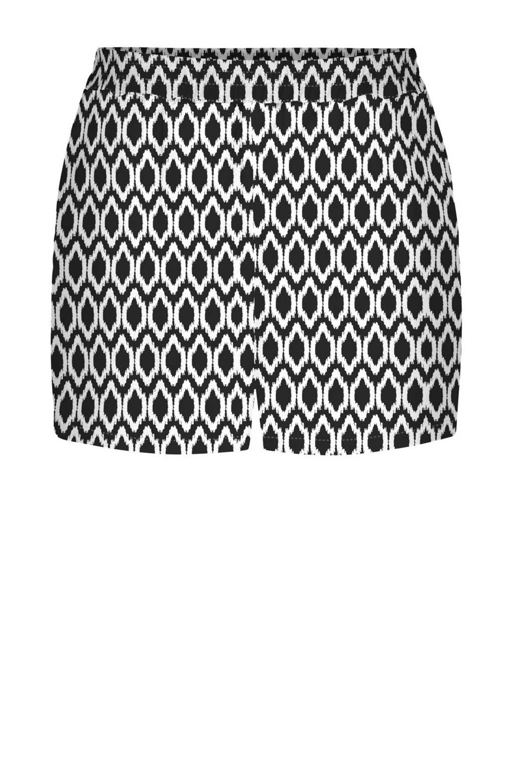 ONLY slim fit short met all over print zwart/wit, Zwart/wit