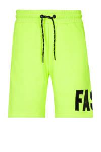 CoolCat Junior sweatshort Nelis met tekst neon geel/zwart, Neon geel/zwart