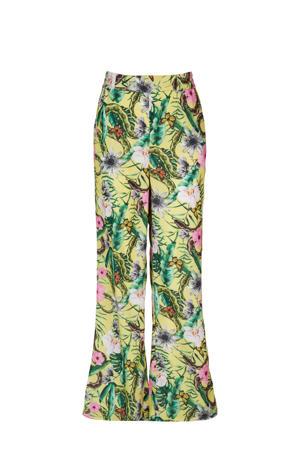 loose fit broek Paulien met all over print geel/groen/roze