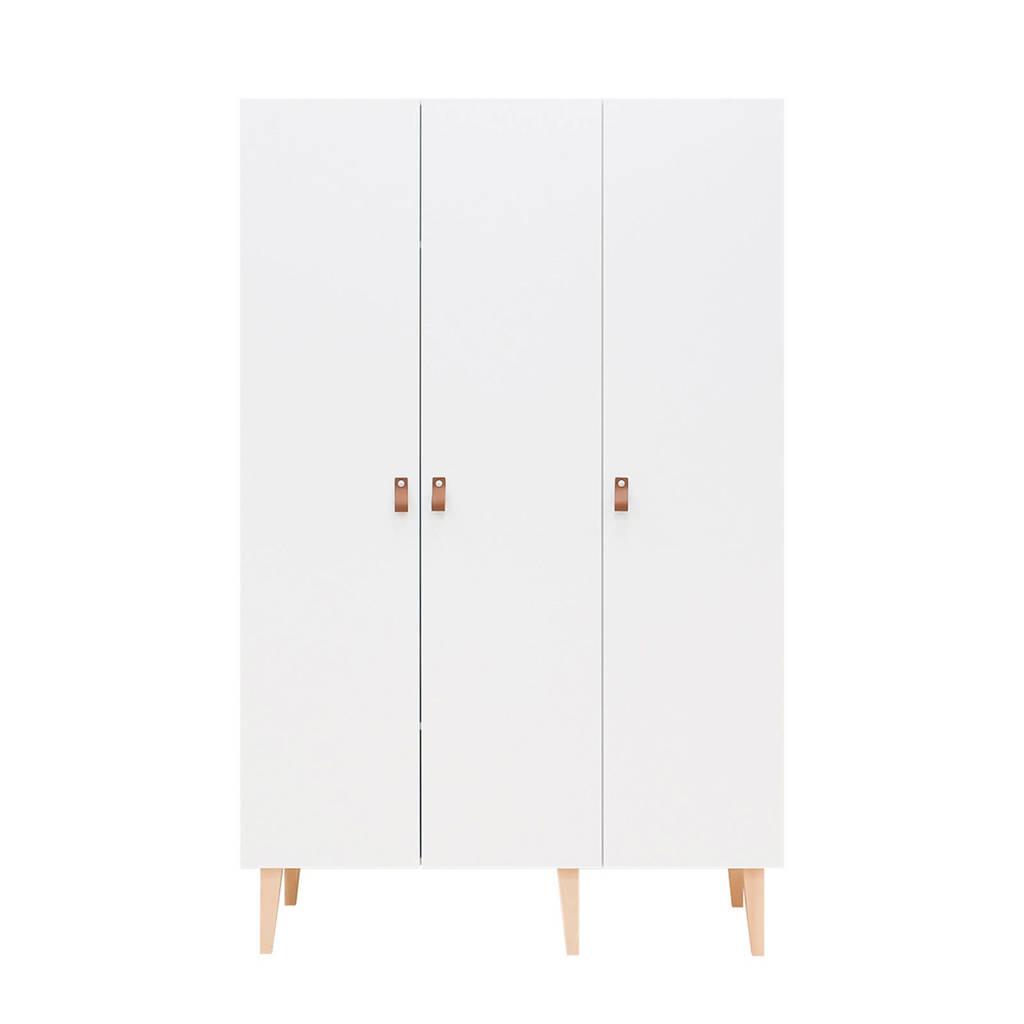 Bopita 3-deurs kledingkast Indy wit, Wit/naturel