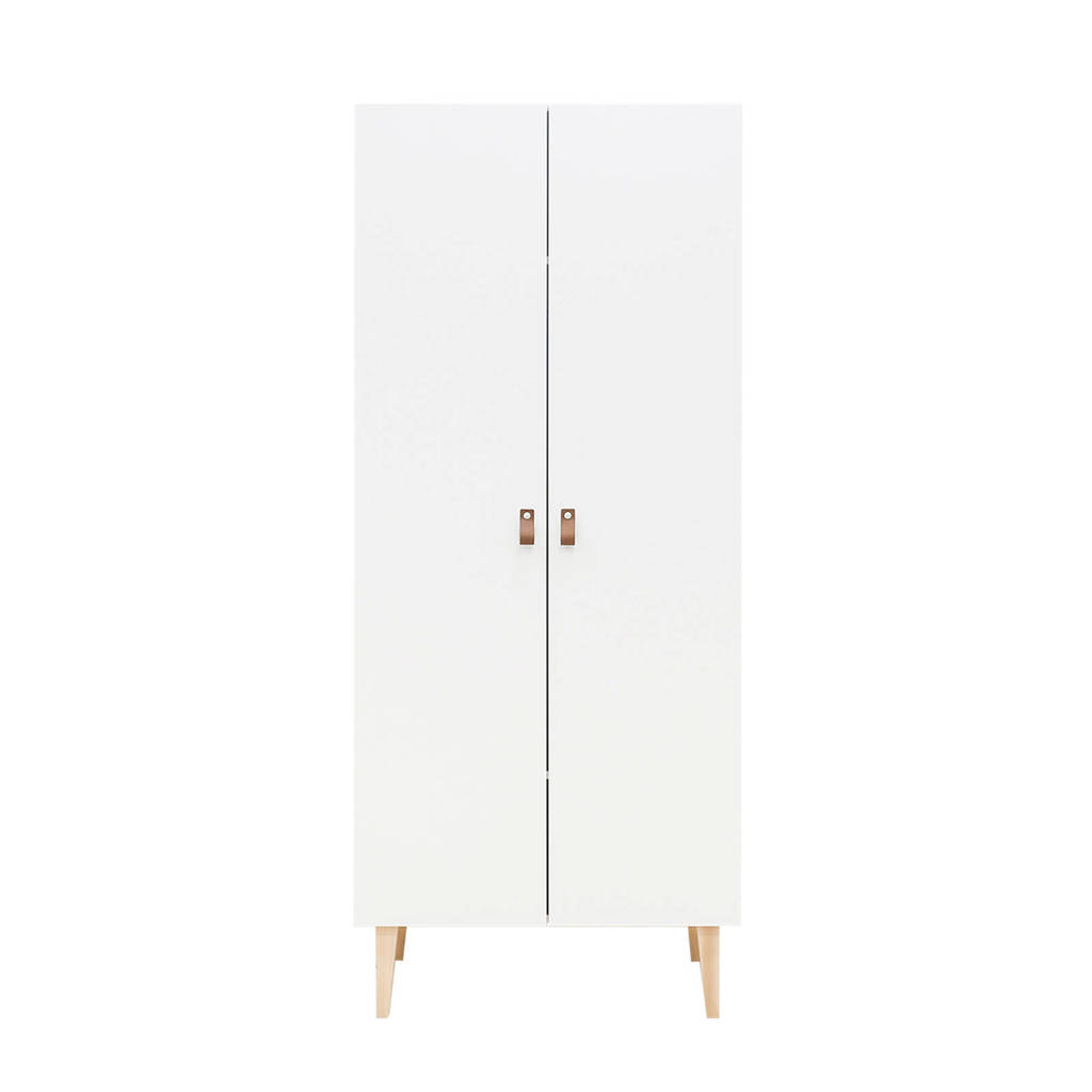 Bopita 2-deurs kledingkast Indy wit, Wit/naturel