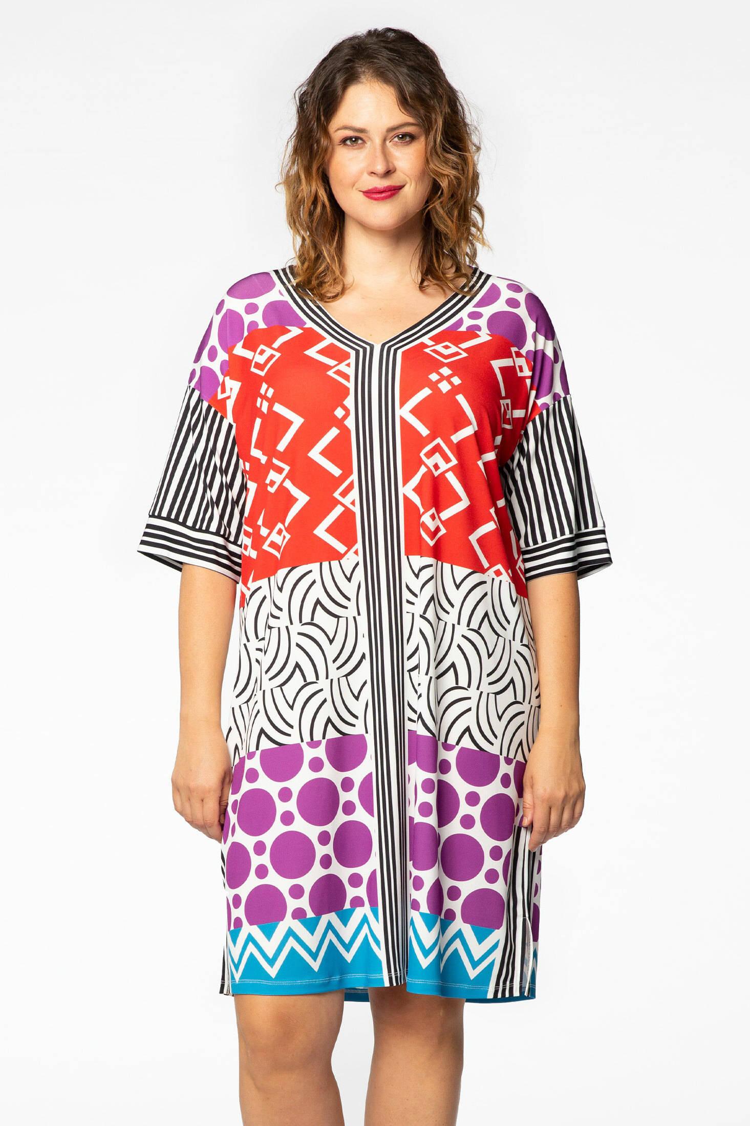 Yoek jurk met grafische print multicolor