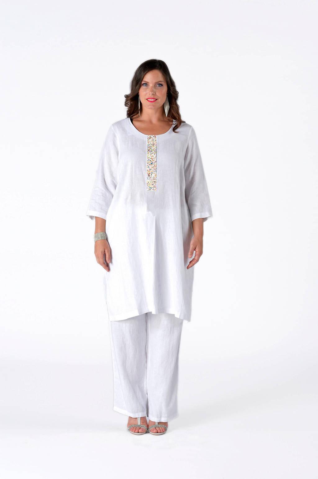 Yoek linnen jurk wit/multi, Wit/multi