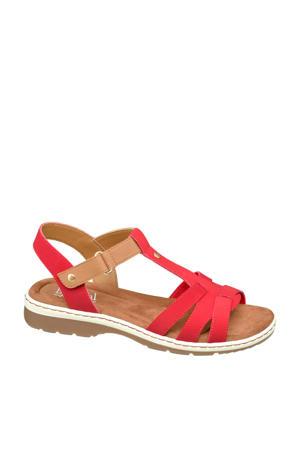 sandalen rood/bruin