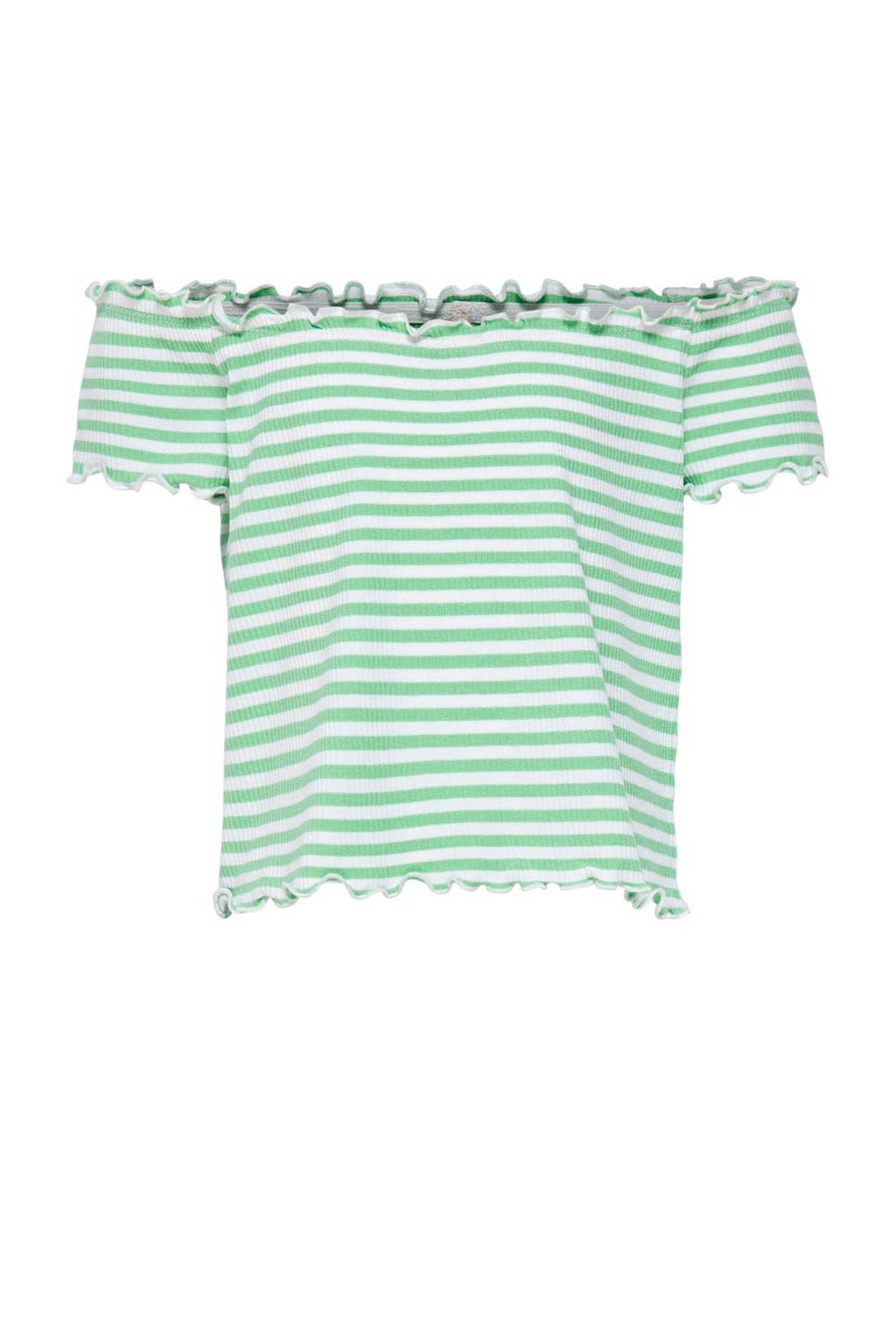 KIDS ONLY gestreepte off shoulder top Naroma groen/wit, Groen/wit