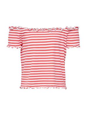 gestreepte off shoulder top Naroma rood/wit