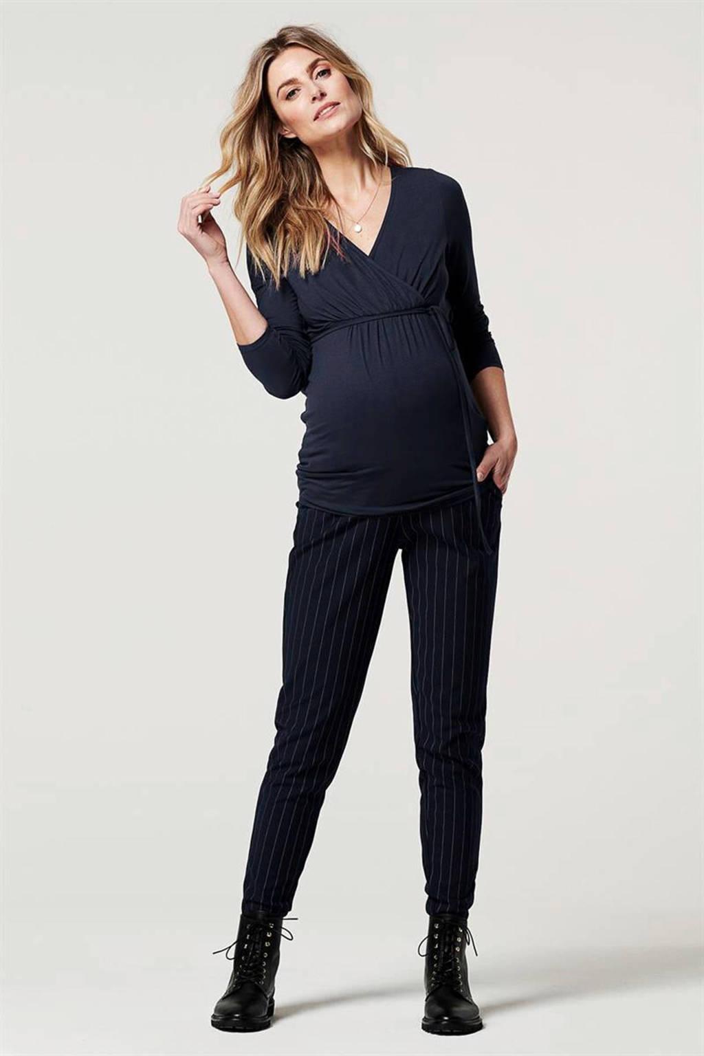 Noppies gestreepte low waist slim fit zwangerschapsbroek Renee donkerblauw/wit, Donkerblauw/wit