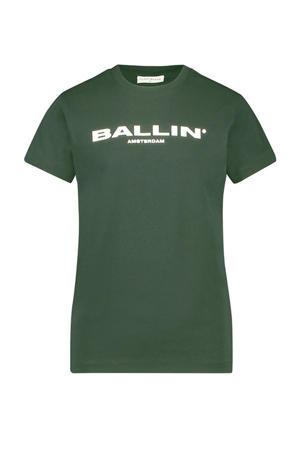 T-shirt met logo groen/wit
