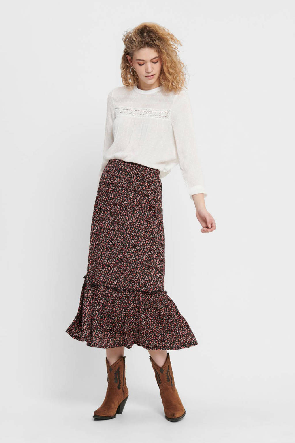 ONLY rok met all over print en volant zwart/roze, Zwart/roze