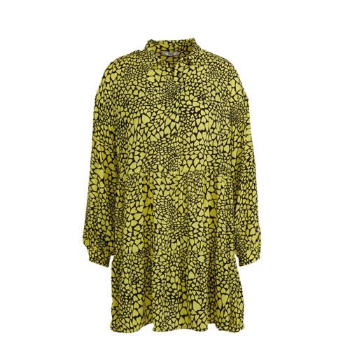 ONLY jurk met hartjes en volant geel/zwart