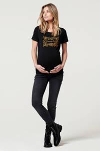 Noppies zwangerschapsshirt Bury met printopdruk zwart/bruin, Zwart/bruin