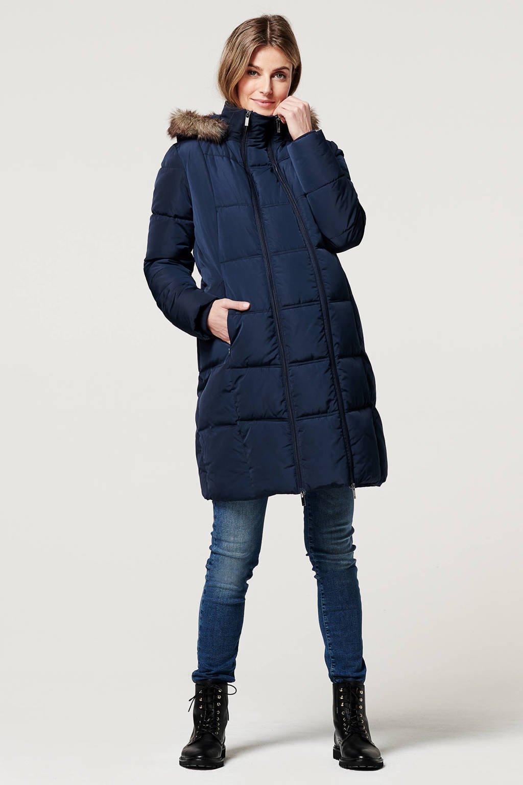 Noppies gewatteerde zwangerschapsjas winter Anna donkerblauw - draagjas, Donkerblauw