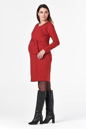 zwangerschaps- en voedingsjurk Sydney met ceintuur rood