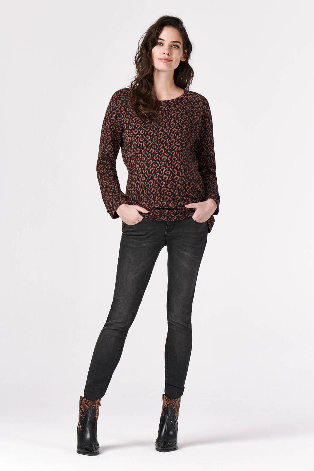 Supermom zwangerschapssweater met dierenprint bruin/zwart, Bruin/zwart
