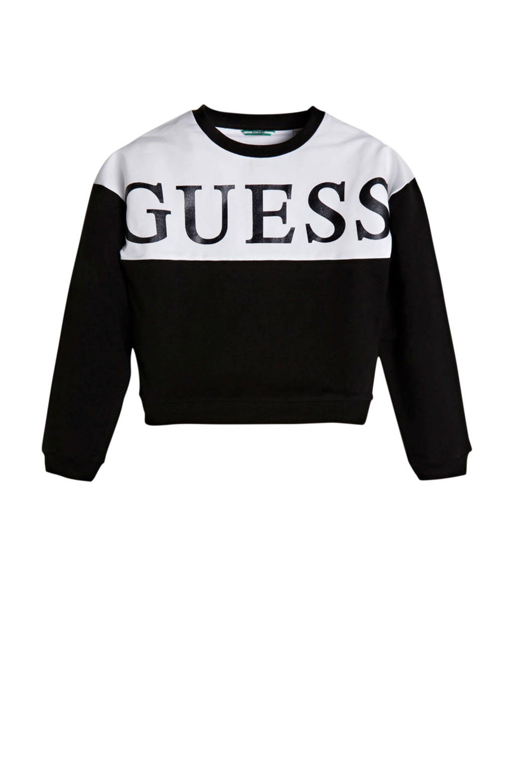 GUESS sweater LS active top met logo zwart/wit, Zwart/wit