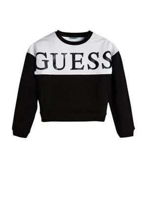 sweater LS active top met logo zwart/wit