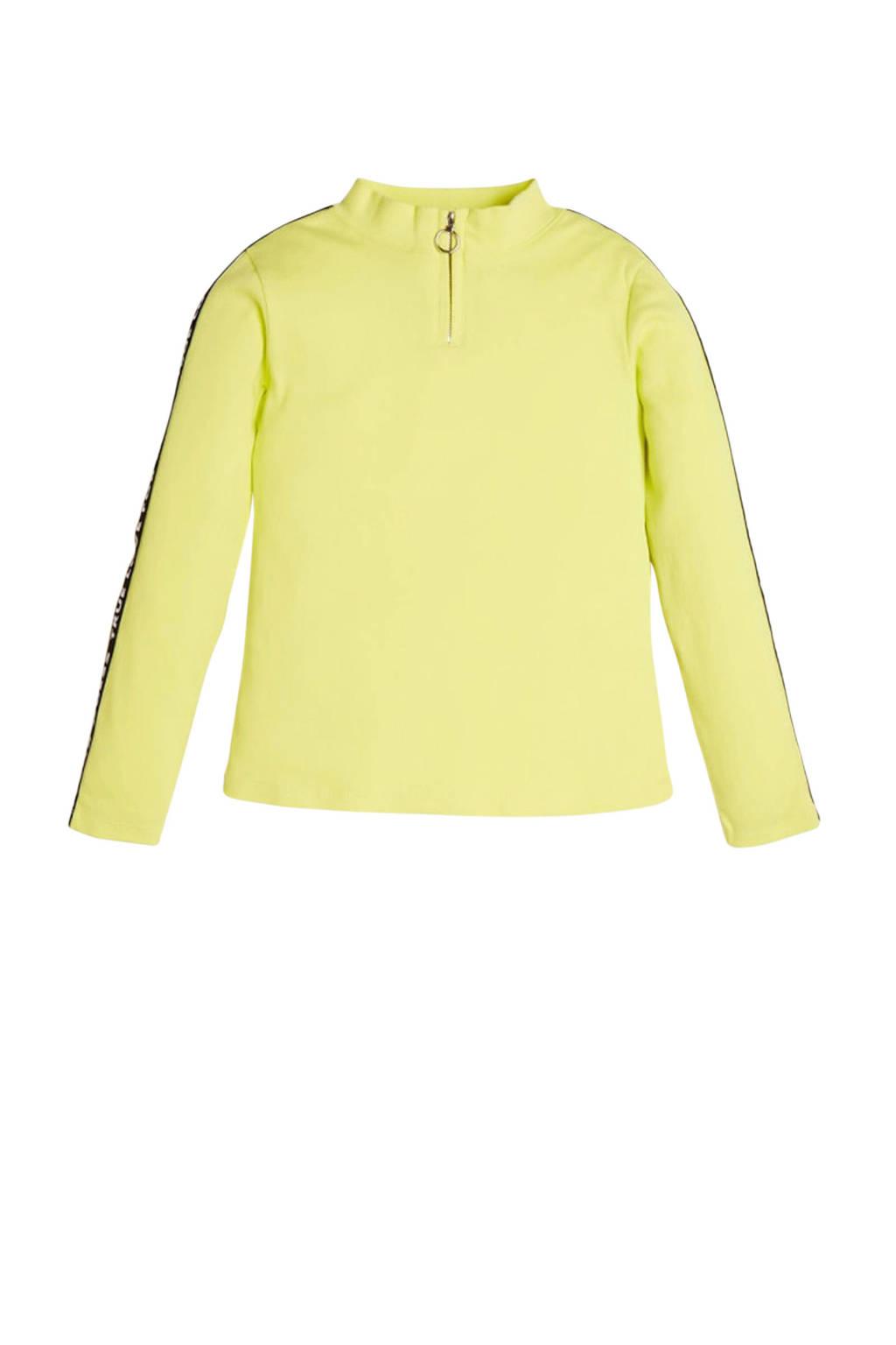 GUESS top Rib LS T-shirt groengeel