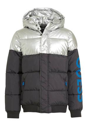 gewatteerde winterjas grijs/wit/zwart