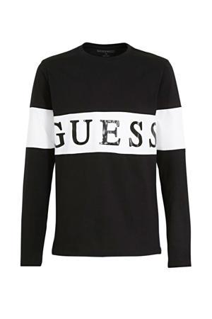 longsleeve met logo zwart/wit