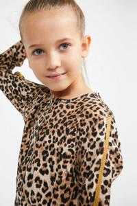 GUESS jersey jurk Lyocell twill adjus LS dress met panterprint bruin/beige, Bruin/beige