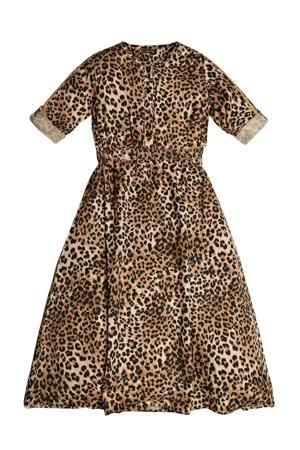 jersey jurk Lyocell twill adjus LS dress met panterprint bruin/beige