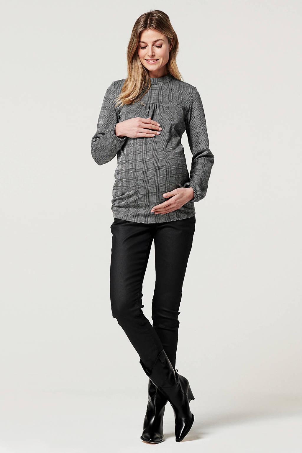 Noppies coated low waist skinny zwangerschapsbroek Teddy zwart, Zwart