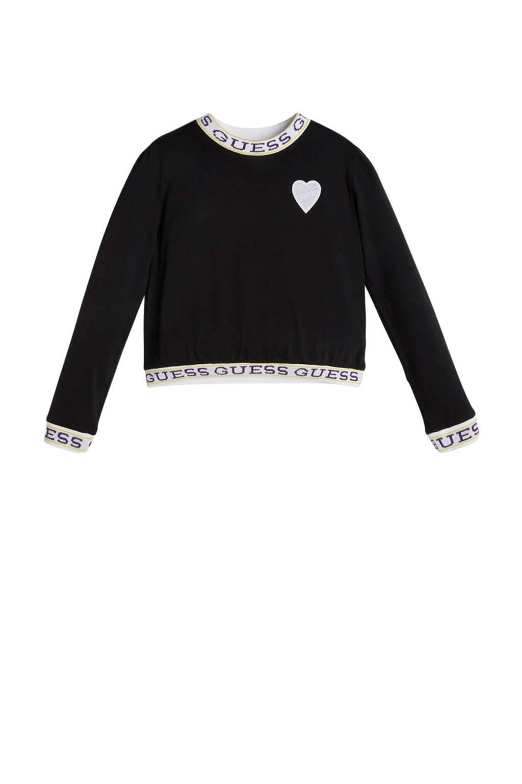 GUESS top LS T-shirt met logo zwart, Zwart