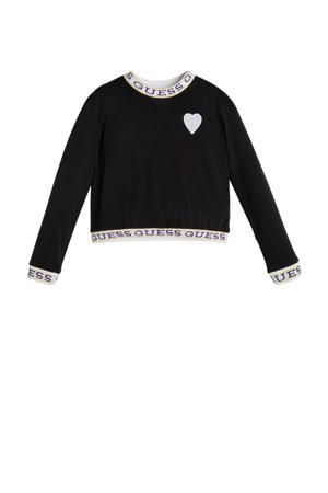 top LS T-shirt met logo zwart