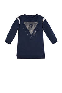 GUESS sweatjurk LS french terry dress met logo donkerblauw, Donkerblauw