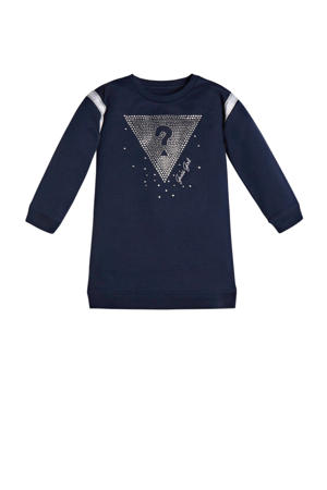 sweatjurk LS french terry dress met logo donkerblauw