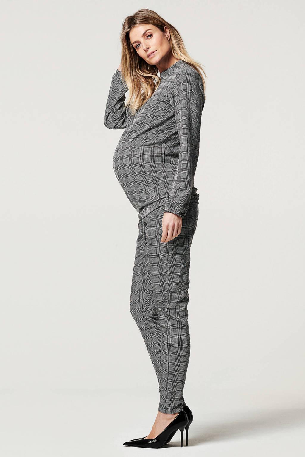 Noppies geruite low waist skinny zwangerschapsbroek Corbridge zwart/wit, Zwart/wit