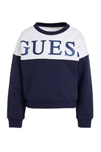 GUESS sweater Active met logo donkerblauw/wit, Donkerblauw/wit