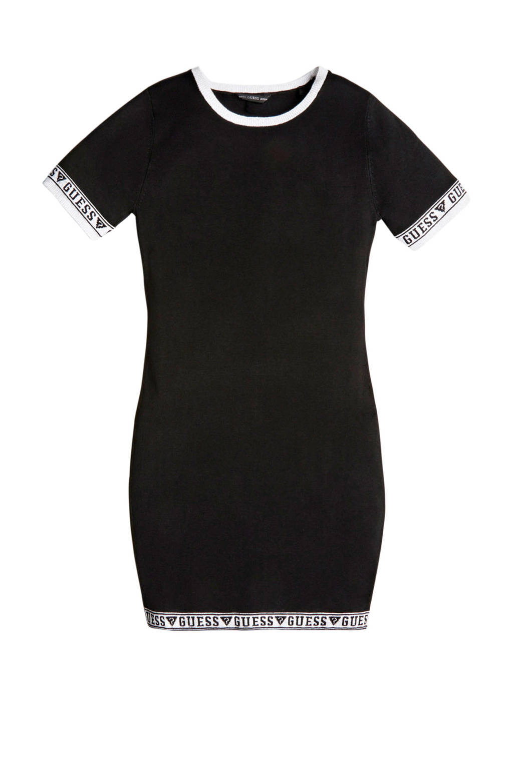 GUESS jurk SS sweater dress met logo zwart, Zwart