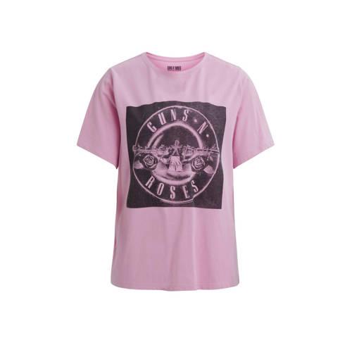 VILA T-shirt met printopdruk roze