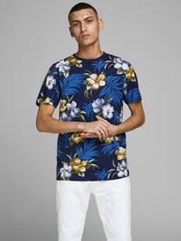 JACK & JONES PREMIUM gebloemd T-shirt marine/blauw/geel/wit, Marine/blauw/geel/wit