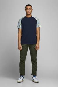 JACK & JONES ORIGINALS gebloemd T-shirt marine/blauw/groen/wit, Marine/blauw/groen/wit