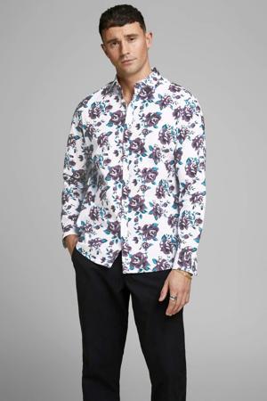 gebloemd slim fit overhemd wit/paars/blauw