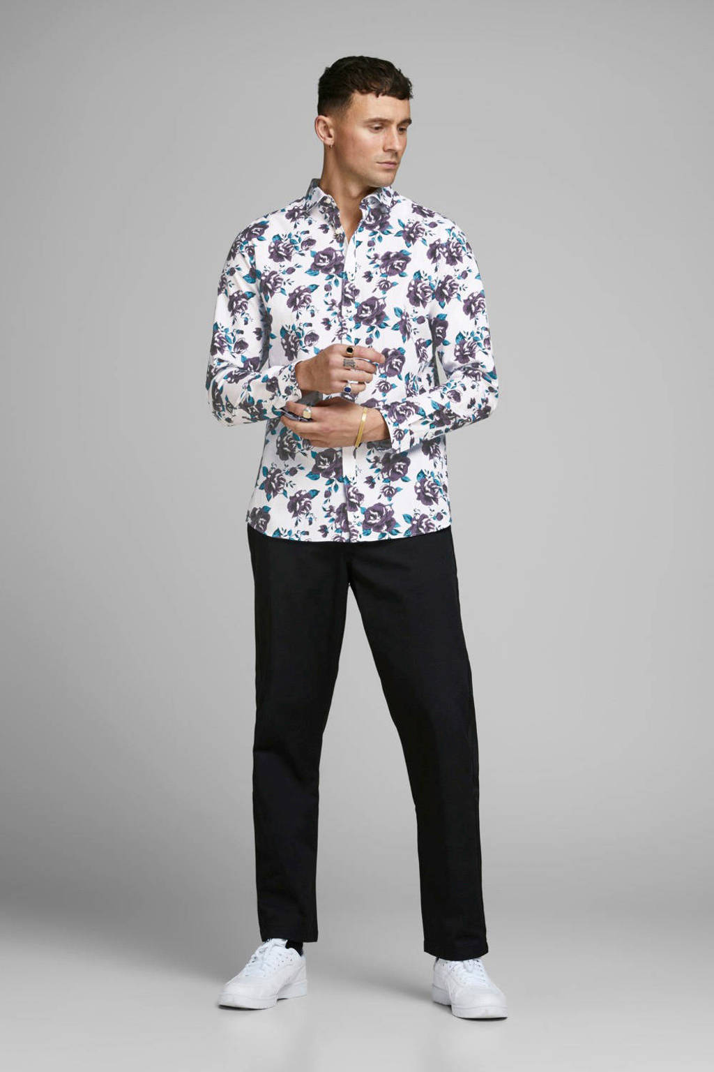 JACK & JONES PREMIUM gebloemd slim fit overhemd wit/paars/blauw, Wit/paars/blauw