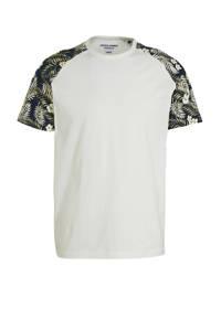 JACK & JONES ORIGINALS gebloemd T-shirt wit/marine/groen, Wit/marine/groen