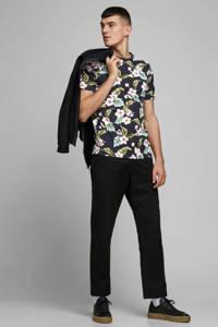JACK & JONES PREMIUM gebloemd T-shirt zwart/roze/groen, Zwart/roze/groen