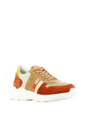 D1916  suède sneakers bruin/multi