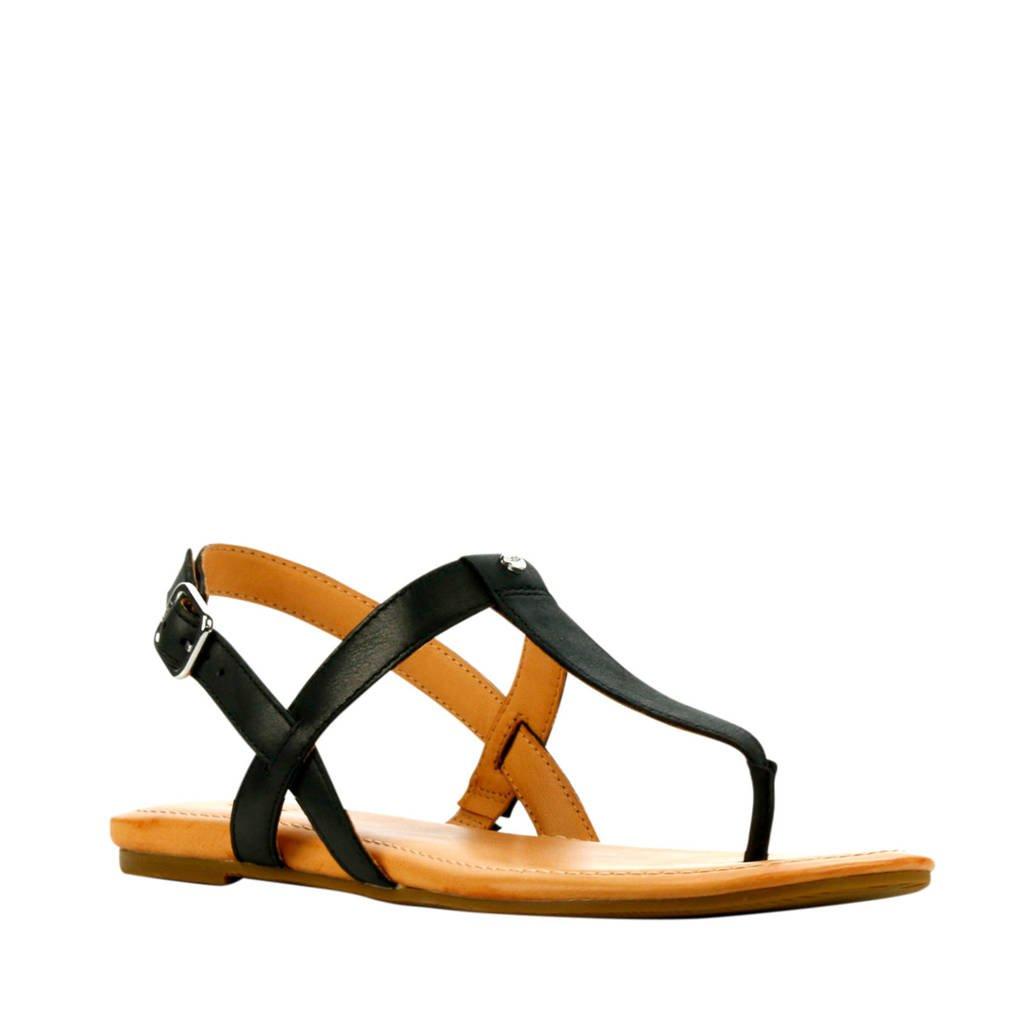 UGG Dinuba  leren sandalen zwart, Zwart