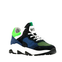 Hip H1264  suède sneakers blauw/groen, Blauw/groen/zwart