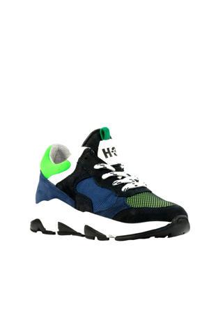 H1264  suède sneakers blauw/groen