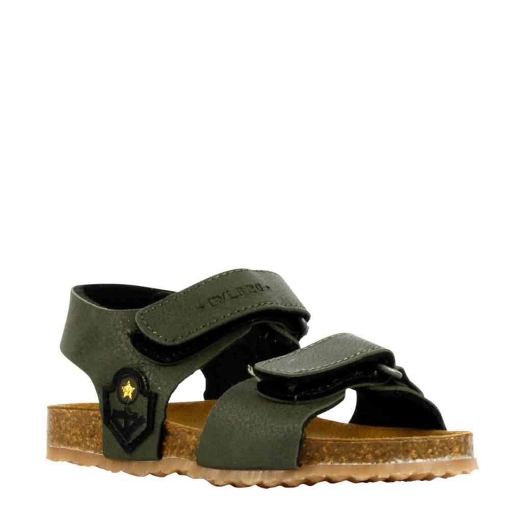 Develab 48201  leren sandalen groen, Donkergroen