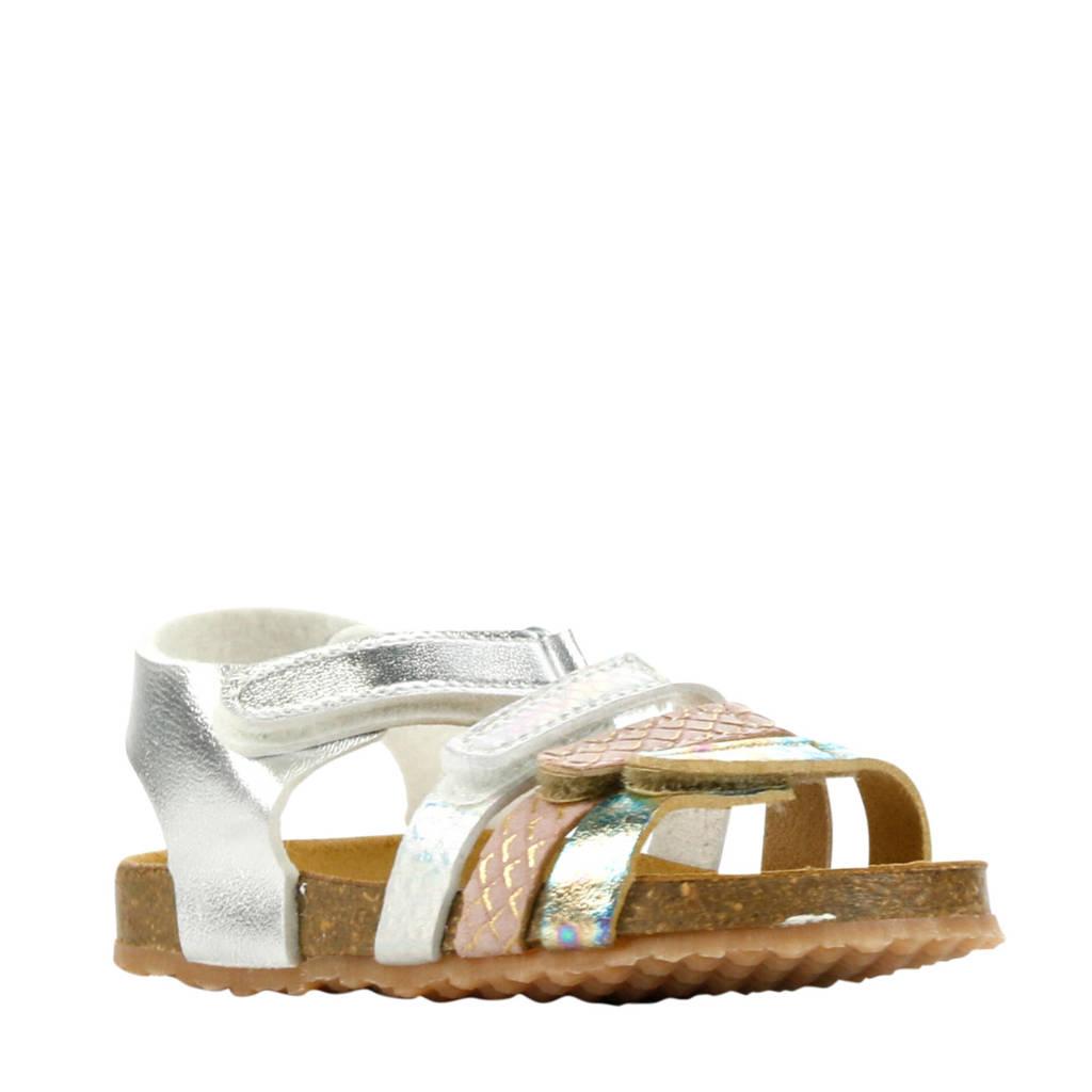 Develab 48230  leren sandalen zilver/roze, Zilver/roze