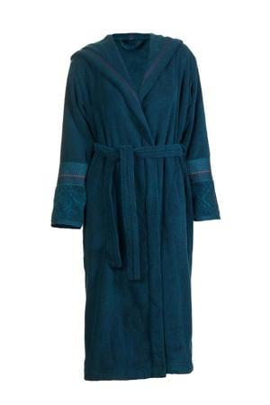 badstof badjas met capuchon donkerblauw